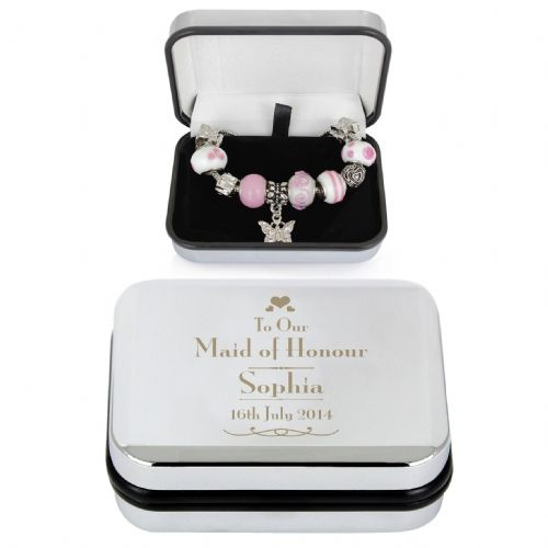 Personalised Decorative Wedding Maid of Honour Silver Box and Pink 21cm Charm Bracelet